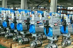 Pneumatic trunnion type ball valve - metal seat