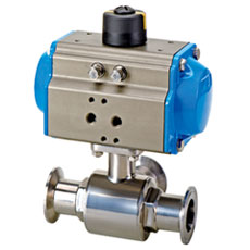Tri-clamp Pneumatic Ball Valve three way type