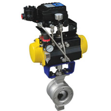Pneumatic regulated wafer V Type Ball Valve