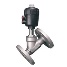 Pneumatic Flanged Angle Seat Valve Plastic Head