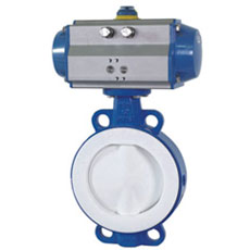 Pneumatic Wafer Butterfly Valve with PTFE Lined