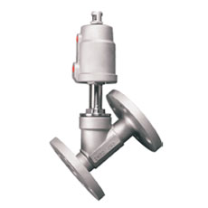 Pneumatic Flanged Angle Seat Valve Stainless Steel Head